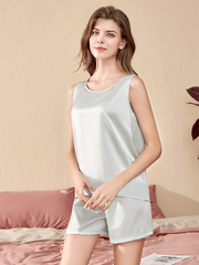 Short Pure Color Silk Pajamas Set| Multi-Colors Selected、Real Silk Life