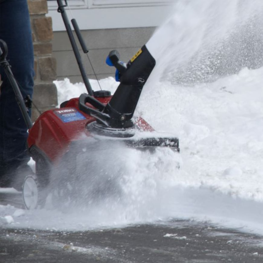 image showing snow blowing