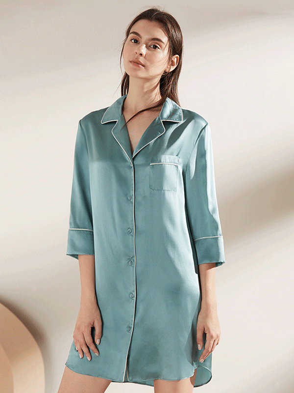 Classic Notched Collar Sleep Shirt Silk Nightgown、Luxury Silk Life