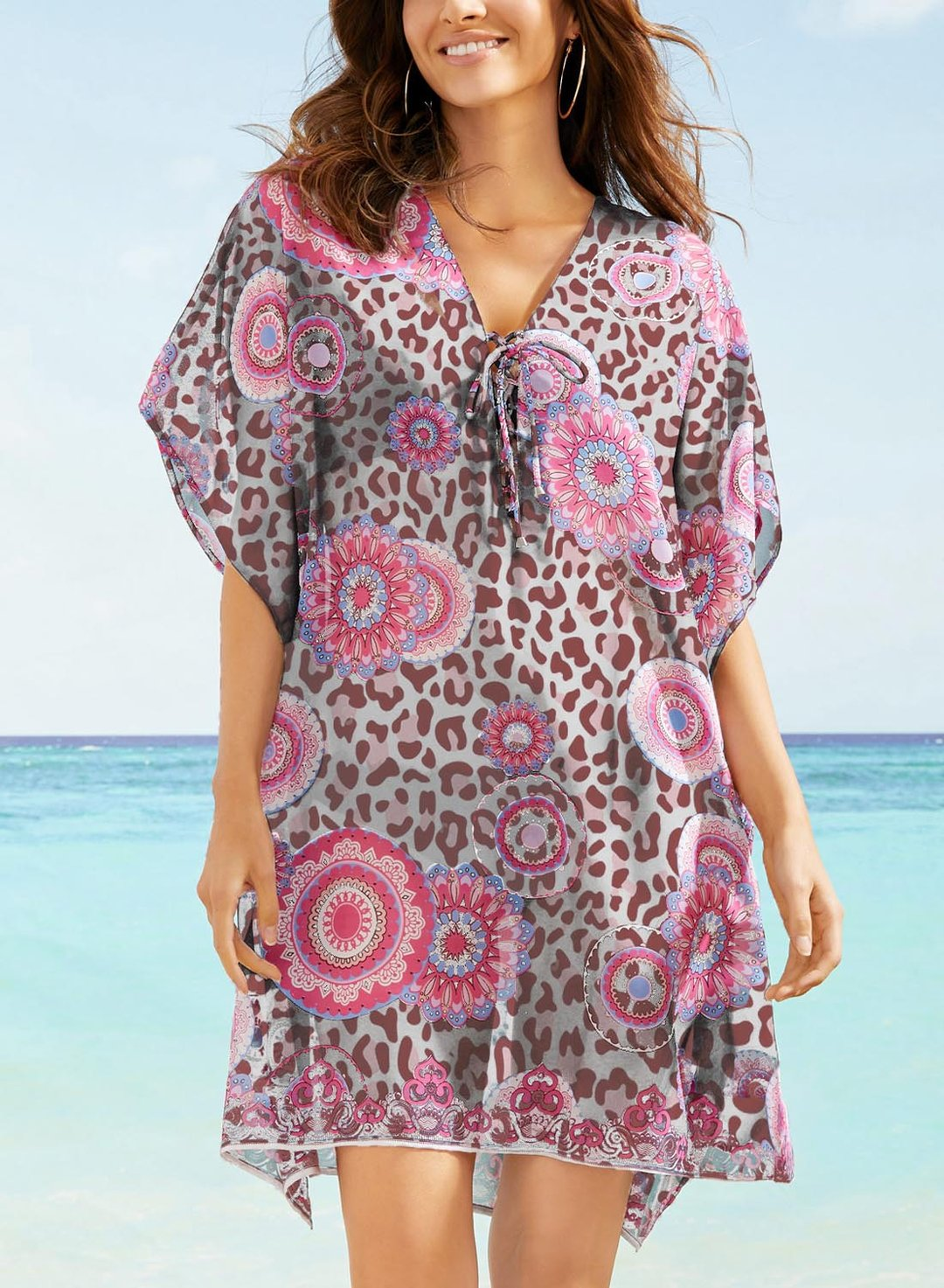 Pink Women's Dresses Loose Leopard Mandala Mini Dress LC42974-10
