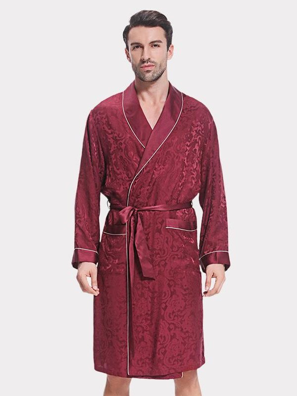 19 Momme Flower Printed Silk Robe For Men、Real Silk Life