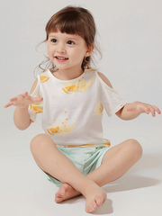 55% Mulberry Silk Lovely Printed Silk Top For Kids、REAL SILK LIFE