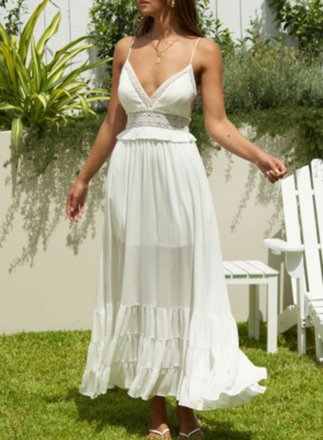 White Women's Dress Solid Fit & Flare Sleeveless Spaghetti Open-back Cut-out Summer Daily Vacation Maxi Dress LC614349-1