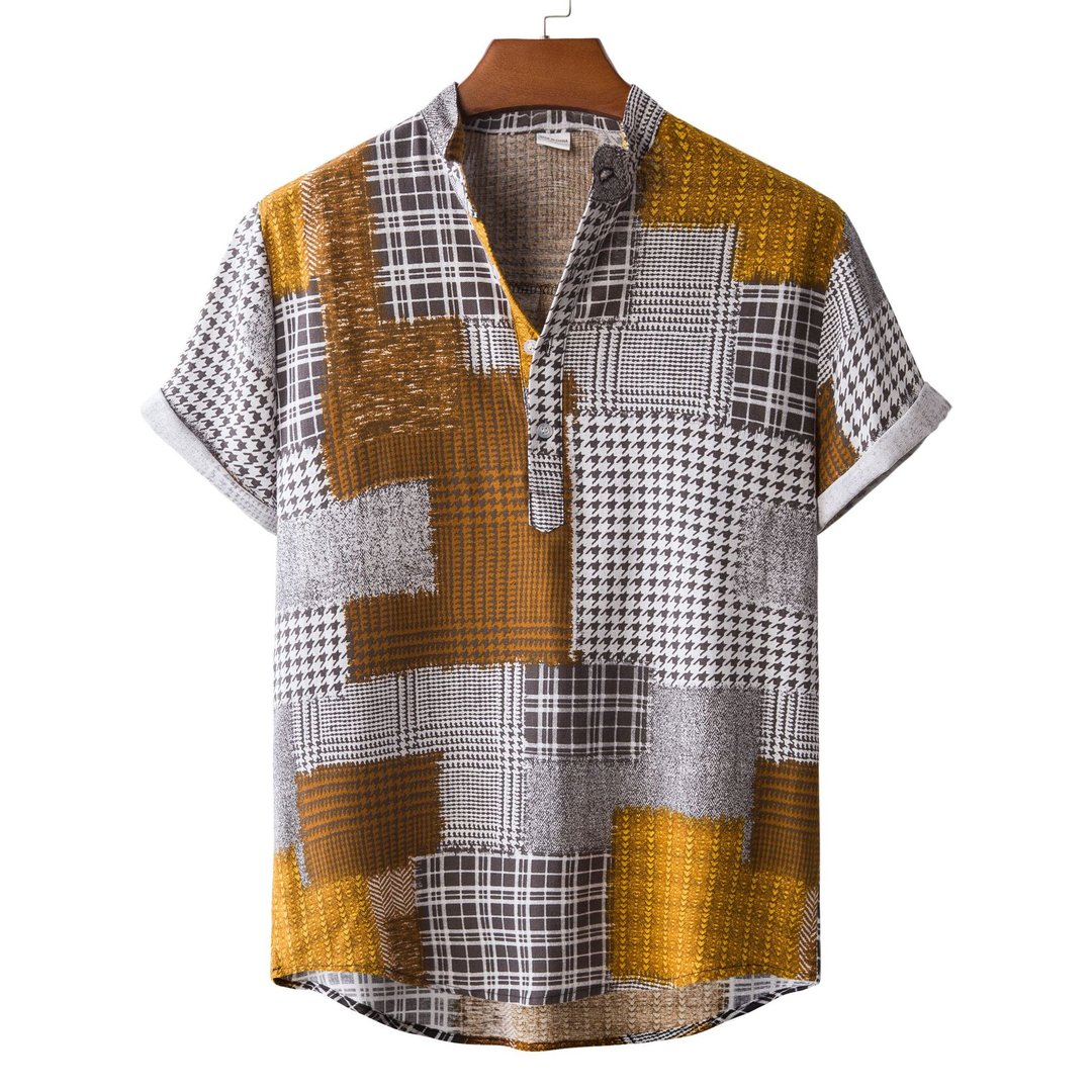 Mens Shirt Collar Cotton-Blend Tribal Shirts / [viawink] /