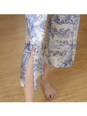 High Quality Oriental Printed Short Silk Pajamas Set For Women、Real Silk Life