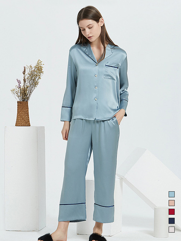 22 Momme High Quality Classic Long Silk Pajamas Set  | Multi-Colors Selected、Real Silk Life