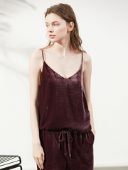 Casual Pure Color Silk Velvet Camisole Top、Real Silk Life