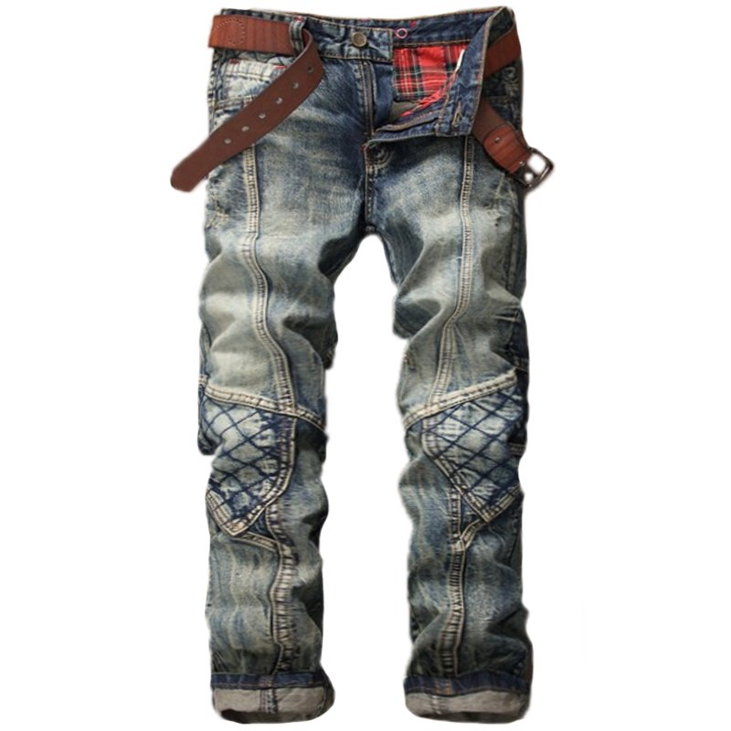 Men's retro stitching motorcycle jeans / [viawink] /