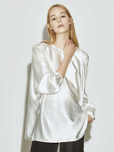 Women White Luxurious Loose Silk Blouse、Real Silk Life
