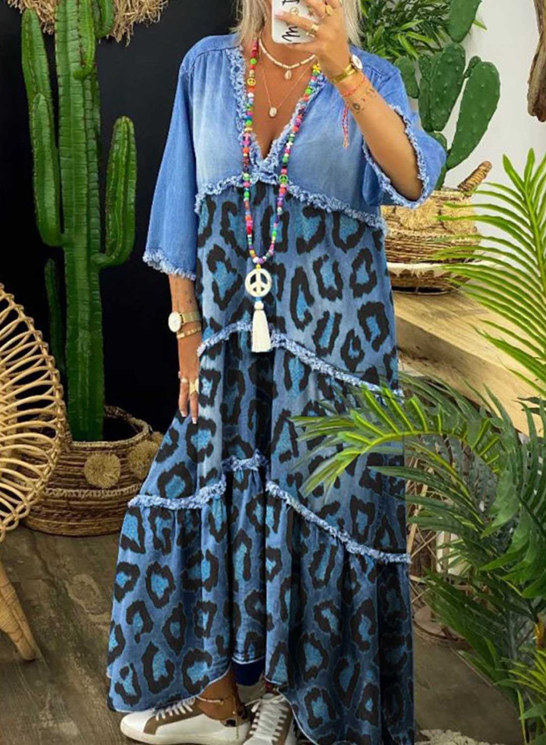 Blue Women's Dresses Leopard Printed Denim Maxi Dress LC615105-5