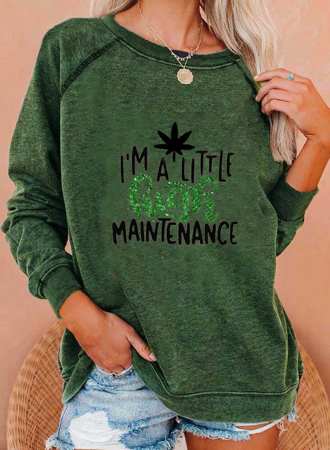 Green Women's Sweatshirts Letter Long Sleeve Round Neck Casual Sweatshirt LC2536309-9