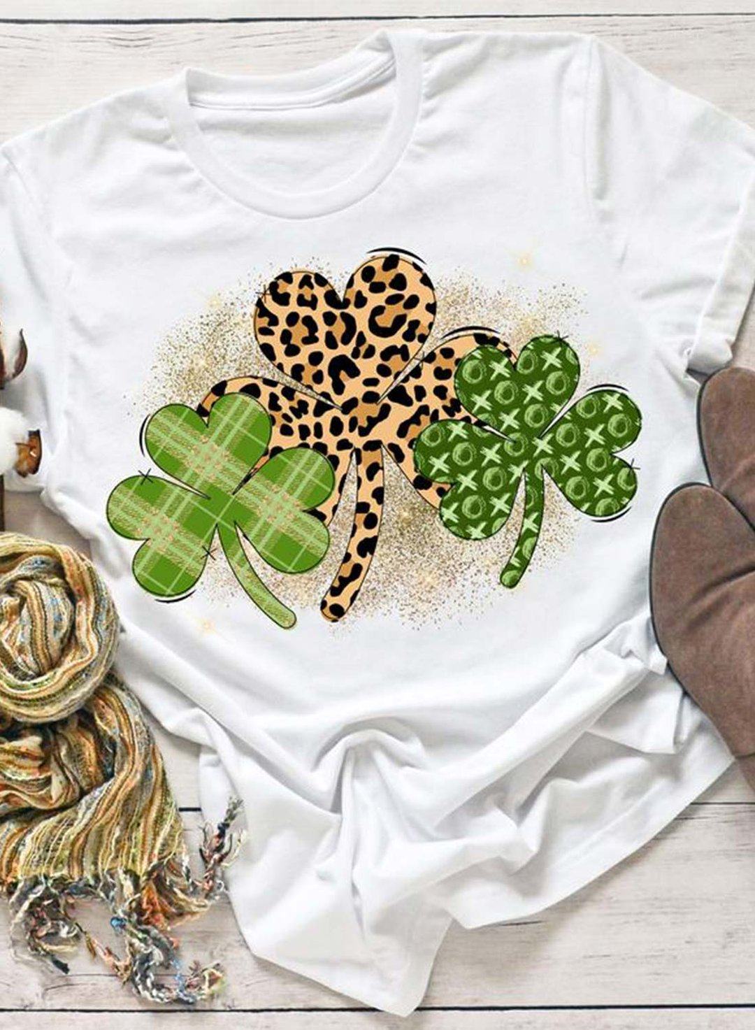 White Women's T-shirts Leopard Plant Round Neck Short Sleeve Daily Casual T-shirts LC2523765-1