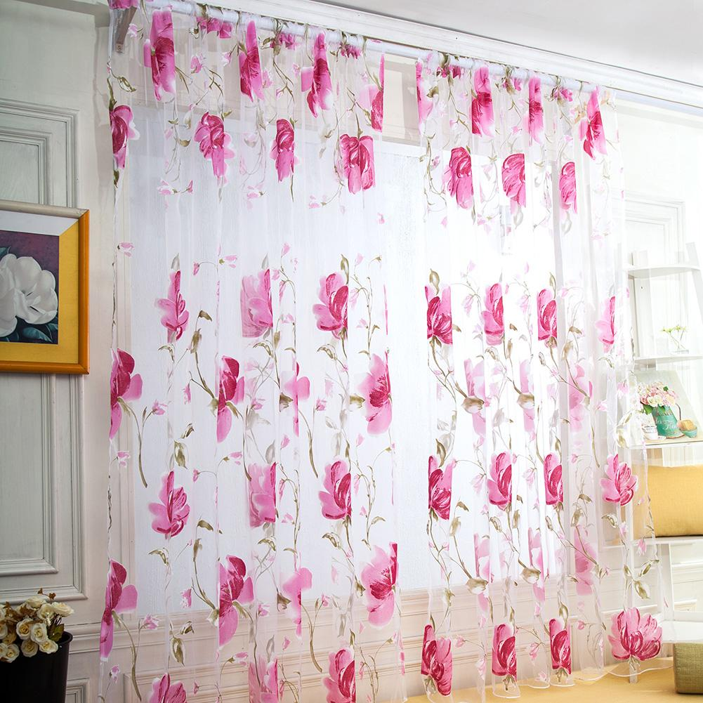 Big Flower Tulle Blackout Curtains Window Screening Drape for Bedroom Decor, 501 Original, Grey  - buy with discount