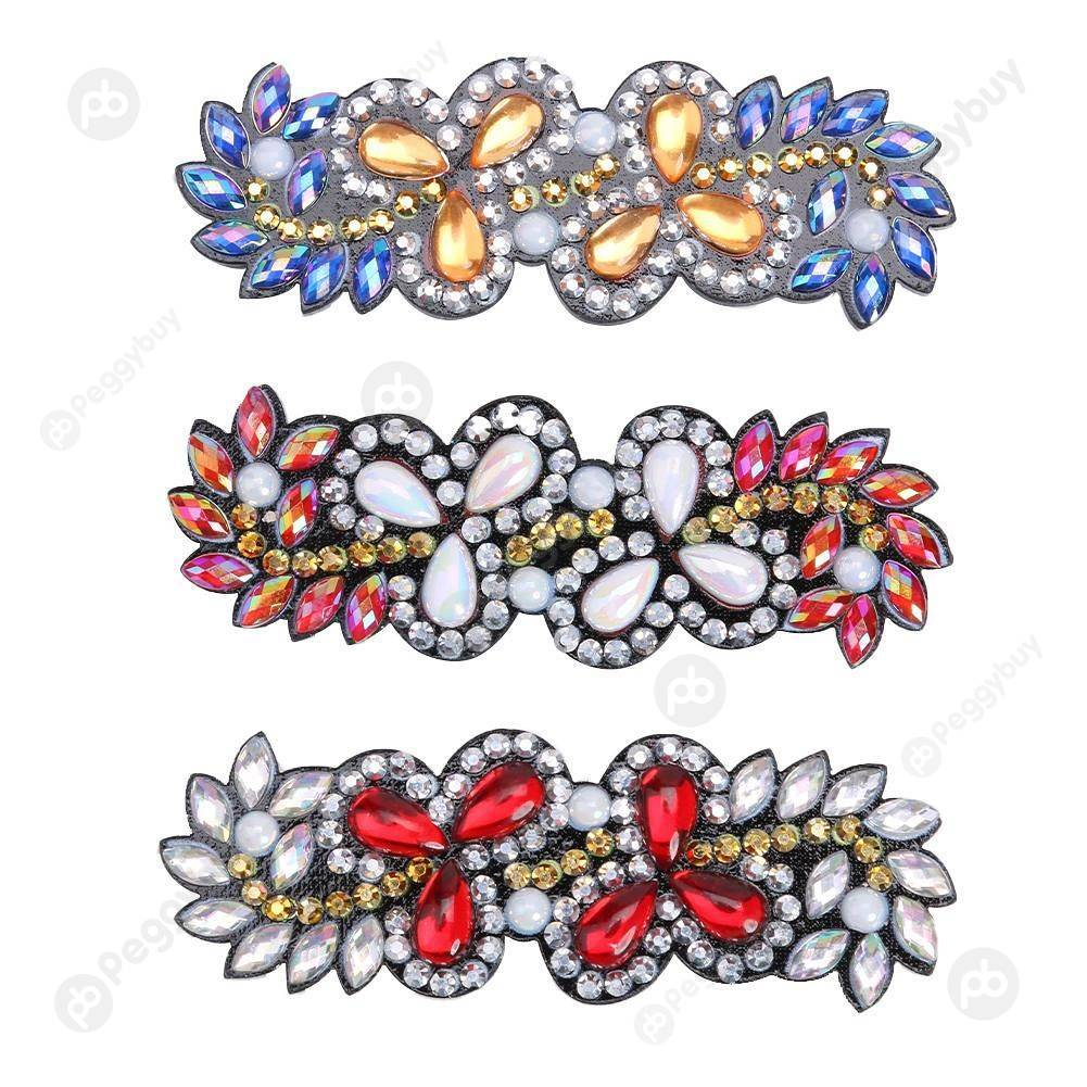 Peggybuy coupon: 3pcs Flower Leaf Barrette Hairpin-DIY Creative Diamond Fashion Accessories
