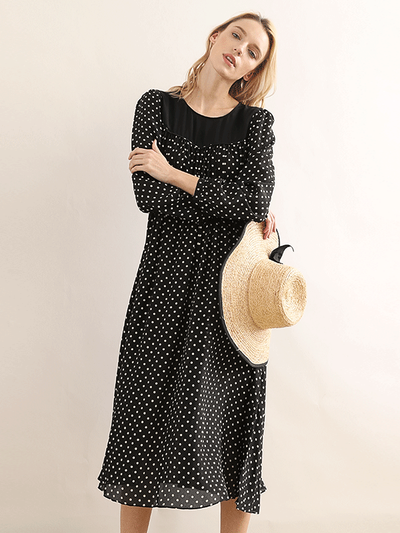 Round Neck Polka Dot Black Silk Dress、Real Silk Life