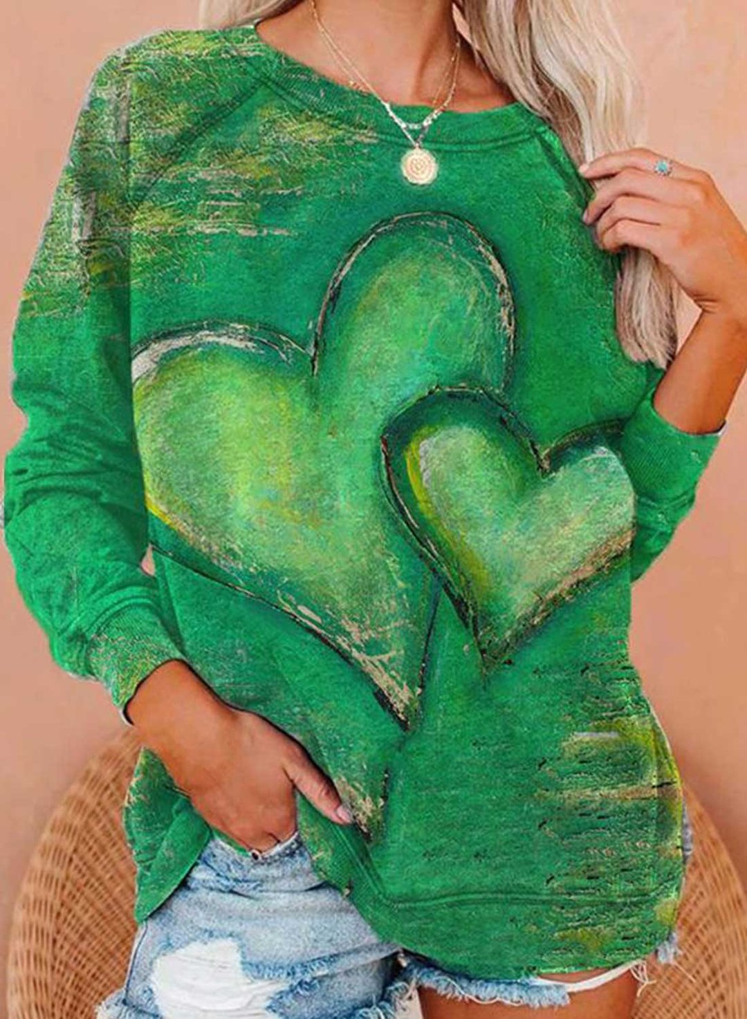 Green Women's Pullovers Heart-shaped Color Block Round Neck Long Sleeve Daily Pullovers LC2516309-9