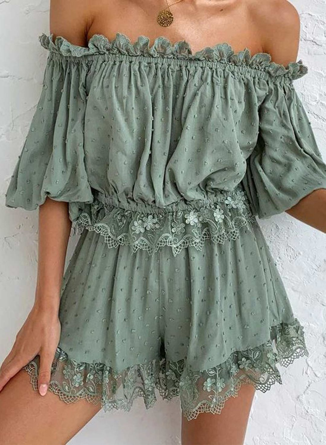 Green Women's Rompers Solid Lace Ruffle Rompers LC642300-9