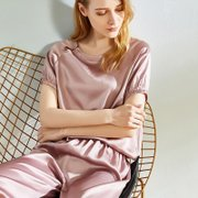 22 Momme Short Sleeves Elegant Franch Design Silk Pajamas Set | Two Colors Selected、Real Silk Life