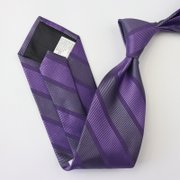 Strips Purple Silk Tie、Real Silk Life