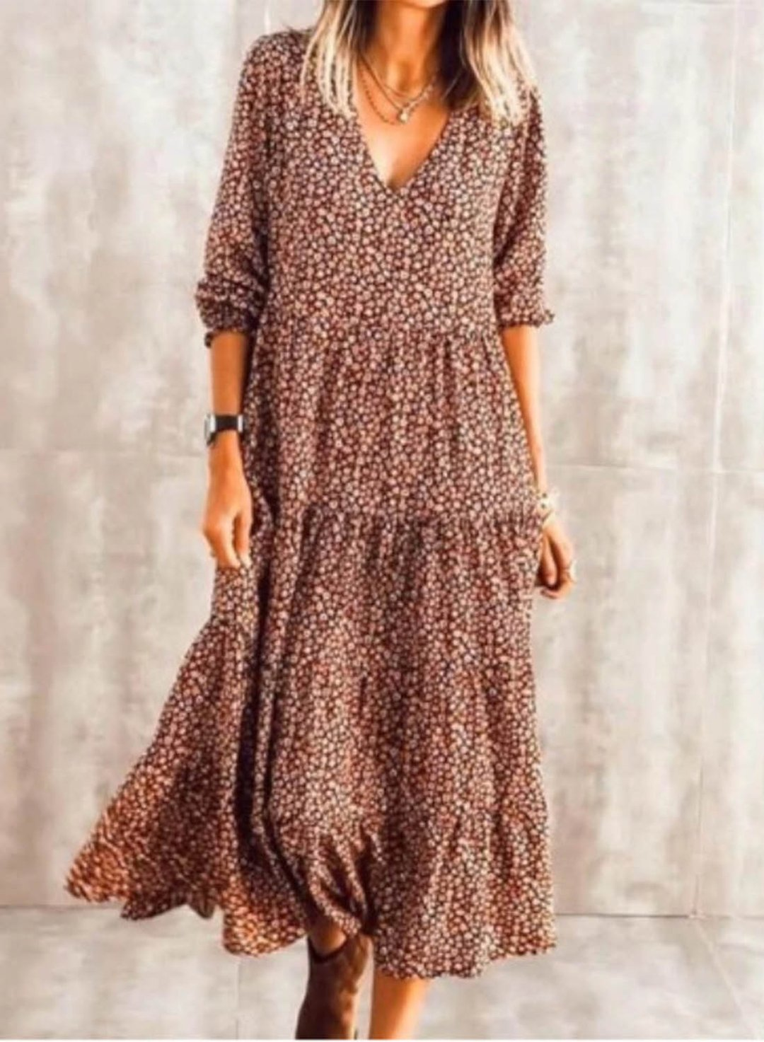 Brown Women's Maxi Dresses Floral Long Sleeve A-line V Neck Vacation Boho Maxi Dress LC614138-17