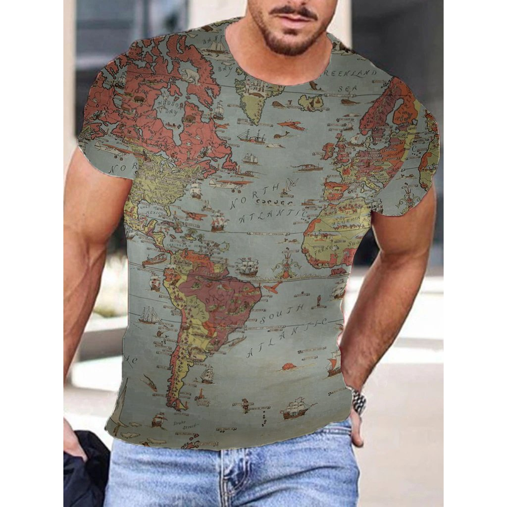 Mens Fashion Map Print T-shirt / [viawink] /