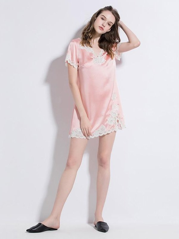 19 Momme Charming Pink Short Sleeves Silk Nightgown、Real Silk Life