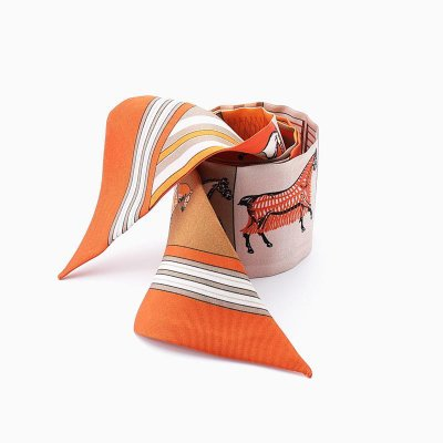 Women Skinny Double Layer Silk Scarf、REAL SILK LIFE