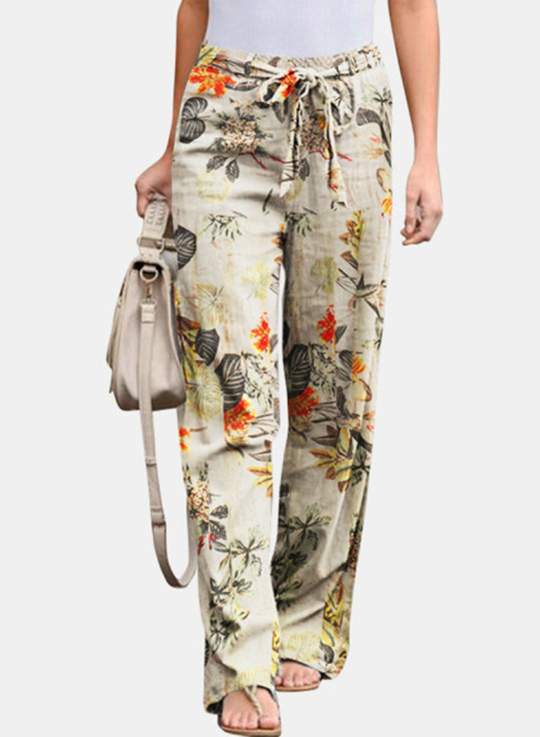 Beige Women's Palazzo Pants High Waist Floral Stringed Palazzo Pants LC771998-15