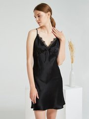 19 Momme Luxury Black Sexy Lace Silk Nightgown、Real Silk Life