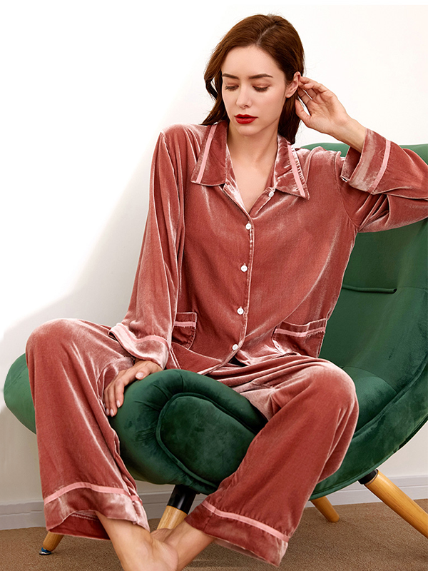 Classic White Piping Silk Velvet Pajamas Set For Women、Real Silk Life