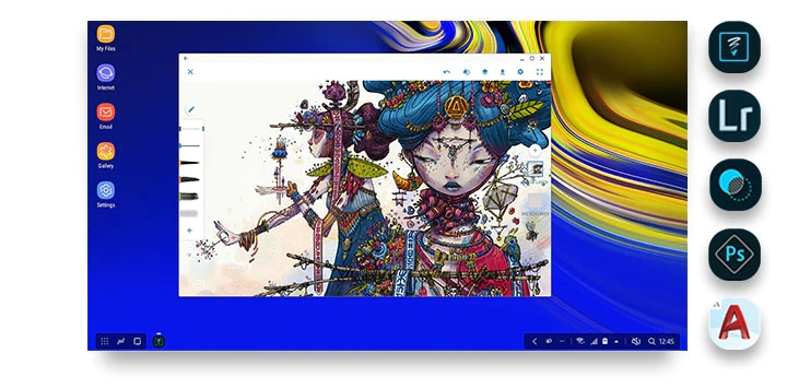 DeX interface with a detailed drawing onscreen and five icons showing different creative applications you can use in DeX mode: Adobe Photoshop Sketch, Adobe Photoshop Lightroom, Adobe Photoshop Mix, Adobe Photoshop Express and AutoCAD Mobile.