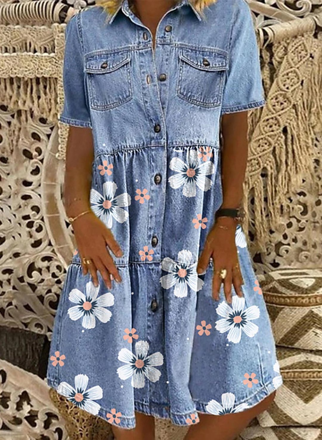Sky Blue Women's Midi Dress Floral Ruched Denim Button-up Dress LC227011-4