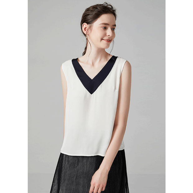 White V-neck Silk Tank、Real Silk Life