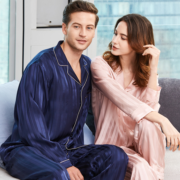 22 Momme Elegant Long Sleeves Classic Silk Pajamas Set For Couple、REAL SILK LIFE