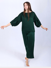 22 Momme Women's Silk Pajamas With Bubble Sleeves、Real Silk Life