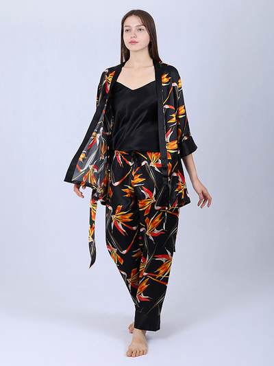 25 Momme Women's Printed Silk Pajamas Set - Three Pieces-Black、Real Silk Life