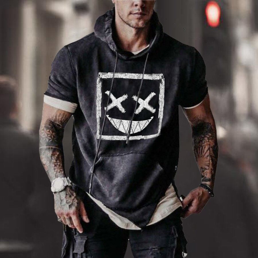 Men's Smile Print Hooded Short Sleeve Sweatshirt / [viawink] /