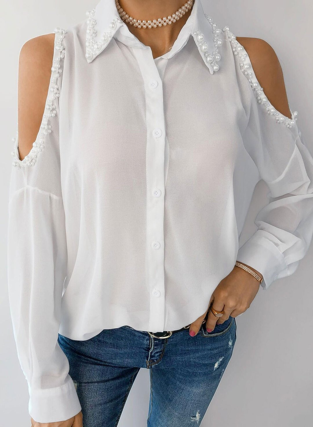 White Women's Shirts Solid Long Sleeve Turn Down Collar Cold Shoulder Daily Casual Shirt LC255885-1