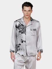 19 Momme Chrysanthemum Print Silk Pajamas Set for Men、Real Silk Life