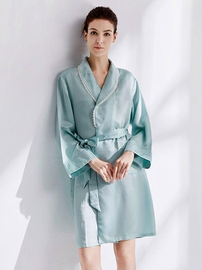22 Momme High Quality Sky Blue Silk Robe One Piece、Real Silk Life