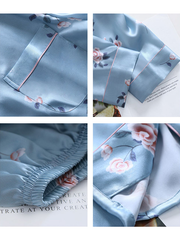 22 Momme Light Blue Flower Printed Silk Pajamas Set、Real Silk Life