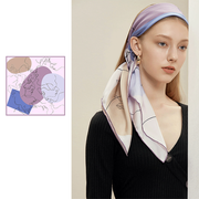 Light Purple Printed Silk Scarf 1031190161 90*90、REAL SILK LIFE