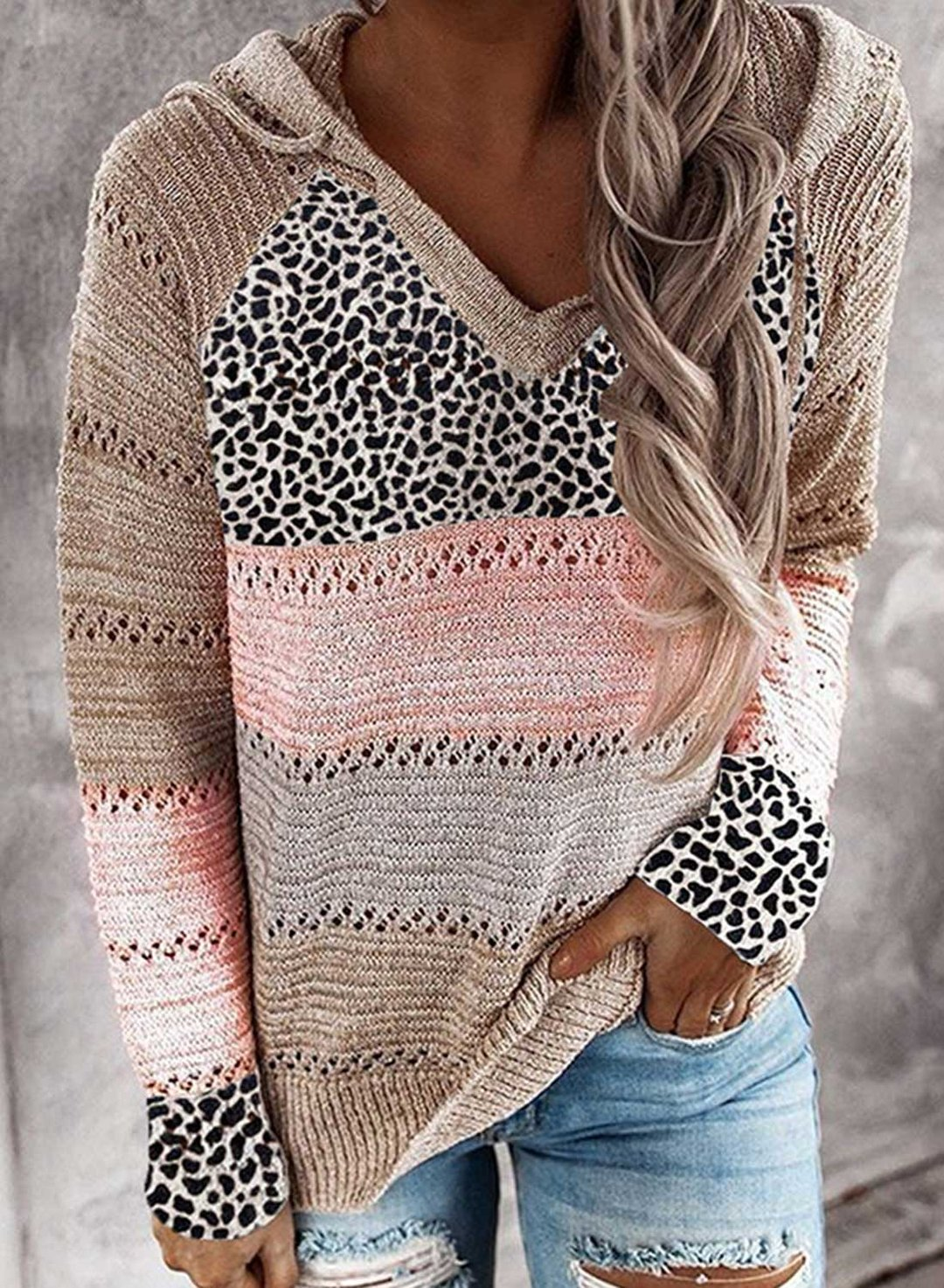 Pink Women's Sweaters Hooded Leopard Color Block Long Sleeve Casual Cut-out Drawstring Sweater LC2721052-10