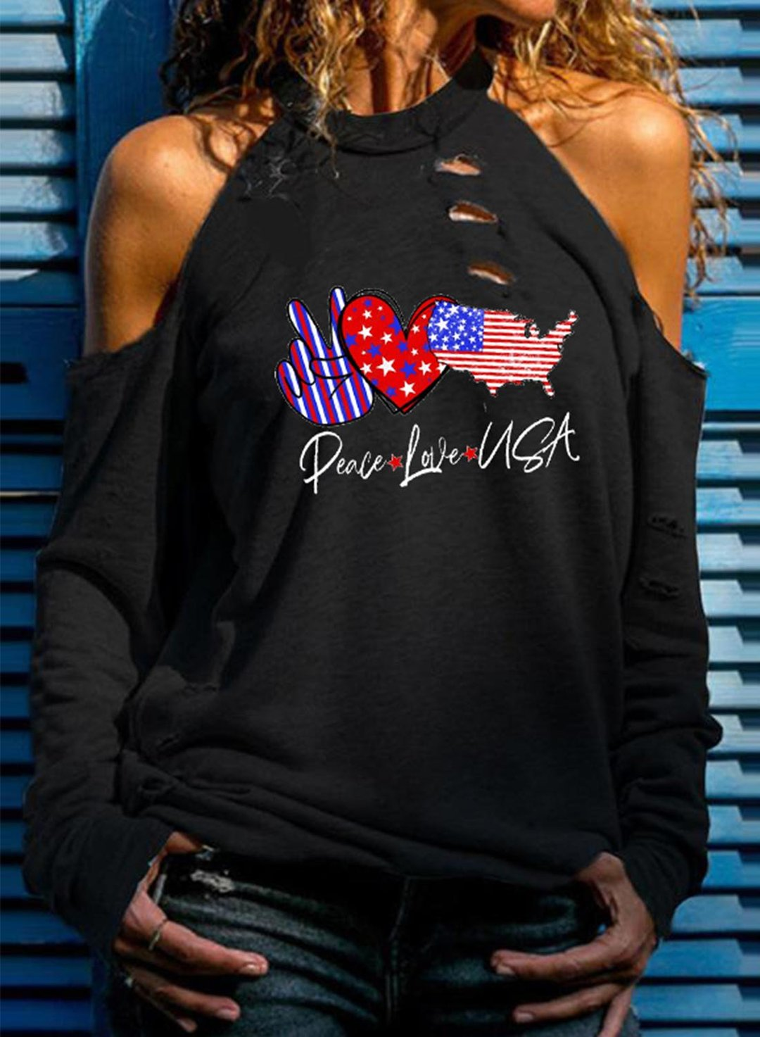Black Women's Pullovers Letter Flag Heart-shaped Long Sleeve Round Neck Cold-shoulder Casual Pullover LC2537376-2