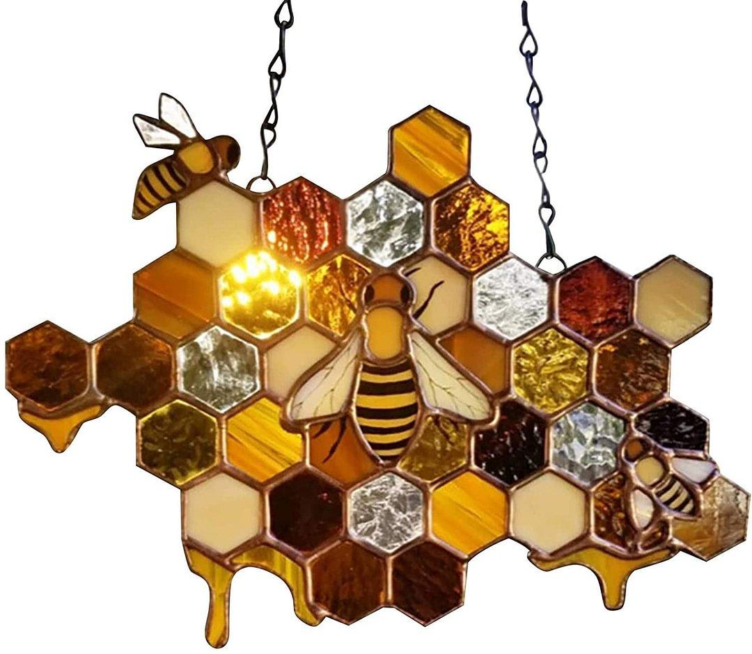 Honey Bee Glass Window Ornament