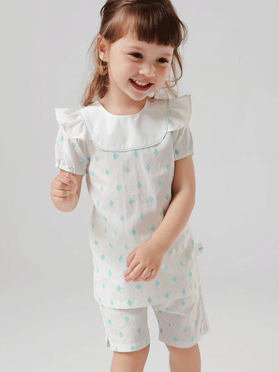 55% Mulberry Silk Lovely Printed Silk Pajamas For Kids、REAL SILK LIFE