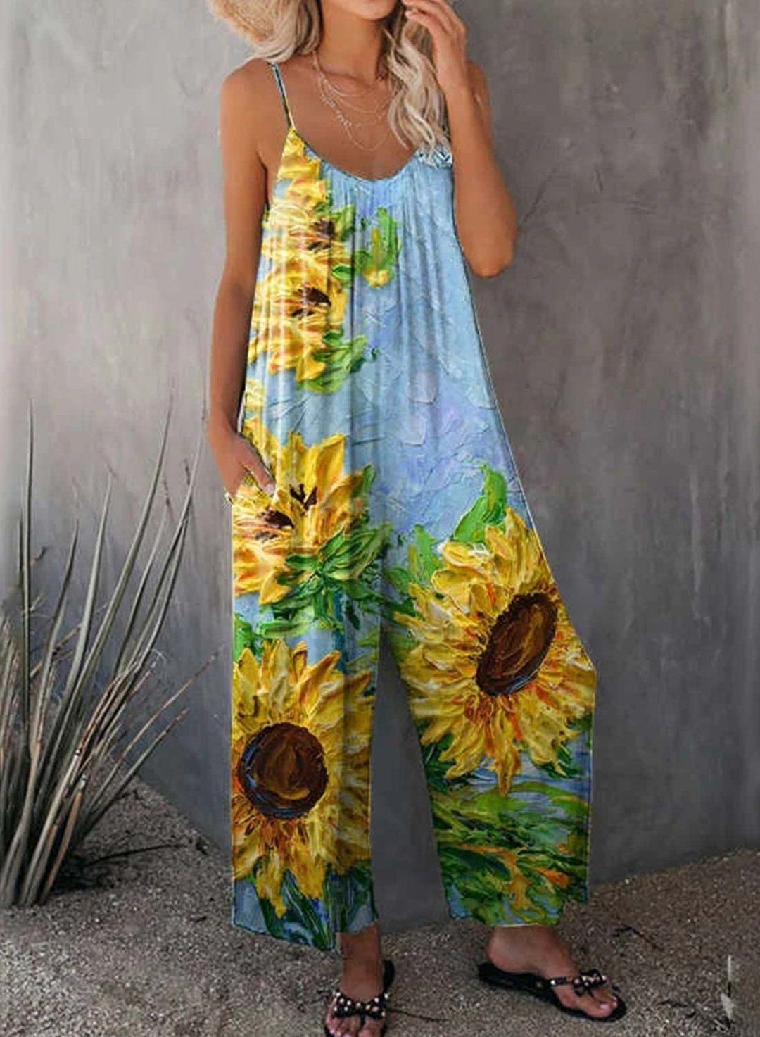 Sky Blue Women's Jumpsuits Sunflower Oil Painting Strappy Jumpsuits LC642405-4