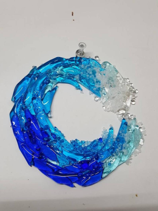 Waves Wall Hanging Decoration for Indoor Outdoor Turquoise Sea Glass Art Ornaments Room Decor Valentines Day Decor LINGLANG Fused Glass Ocean Suncatcher Ornament Glass Wave Sun Catcher