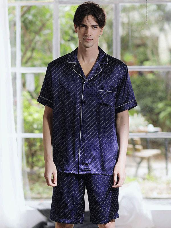 Classic Short Silk Pajamas Set For Men、Real Silk Life