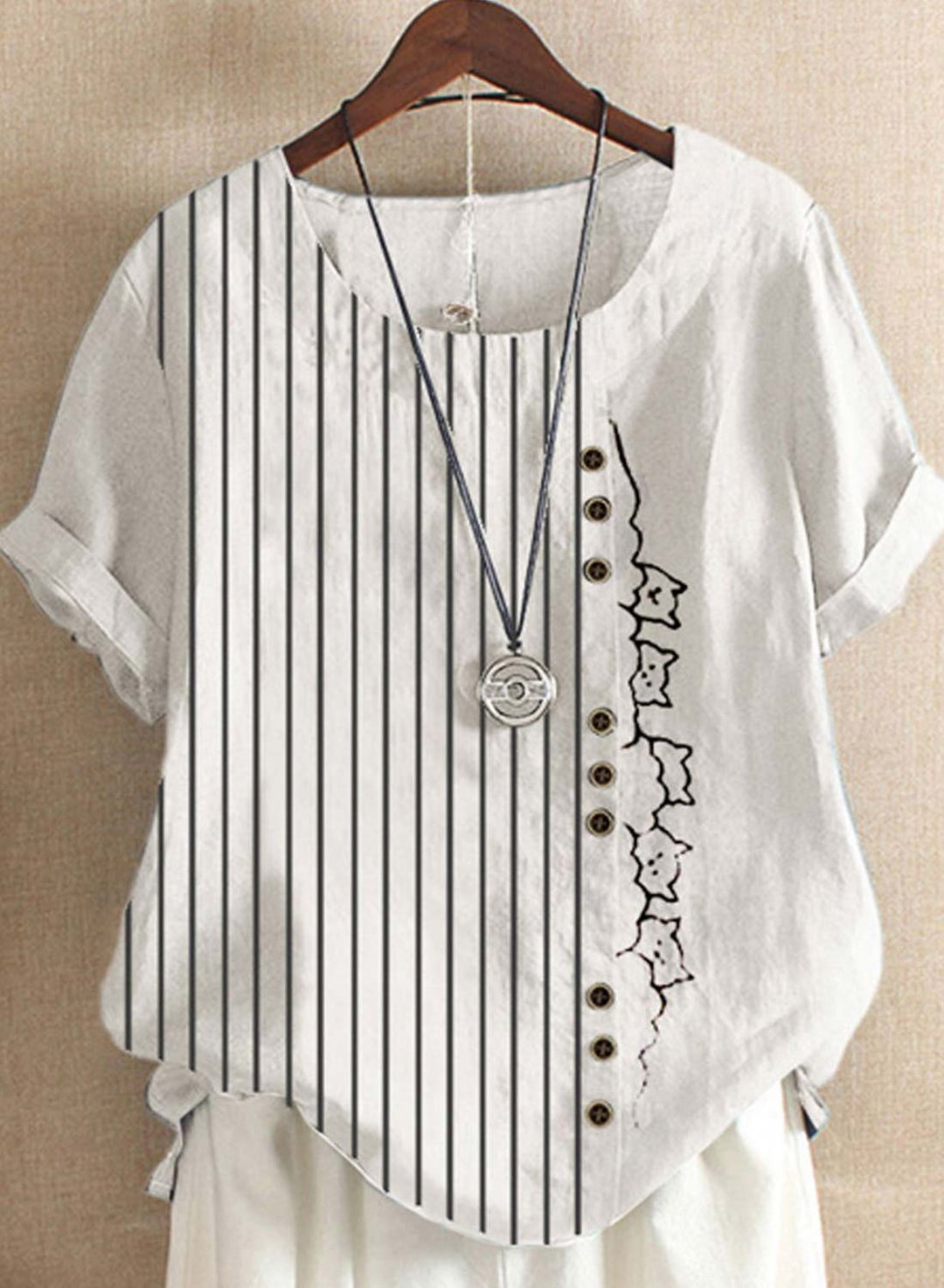 White Striped Cartoon Printed Button O-Neck Short Sleeve T-shirt LC255759-1